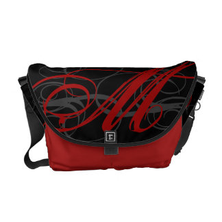 Posh Red Monogram Initial on Black Commuter Bags
