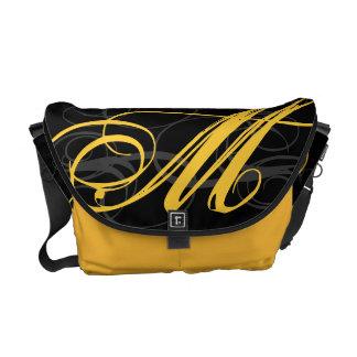 Posh Yellow Saffron Monogram Initial on Black Commuter Bags