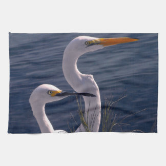 Posing Egrets Kitchen Towel