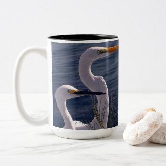 Posing Egrets Two-Tone Coffee Mug