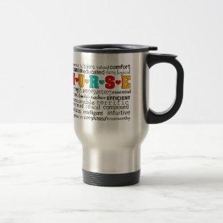 Positif d'infirmière décrivant des cadeaux de mots mug de voyage en acier inoxydable