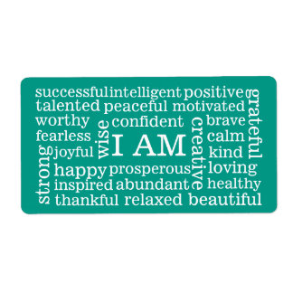 Positive Affirmations I AM words for Success Shipping Label