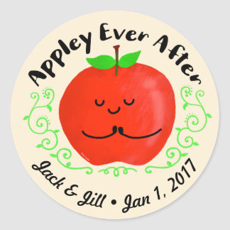 Positive Apple Pun - Appley Ever After Classic Round Sticker