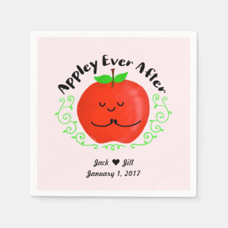 Positive Apple Pun - Appley Ever After Disposable Napkins