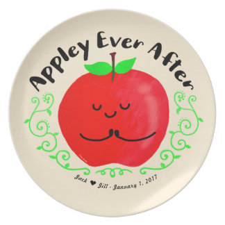 Positive Apple Pun - Appley Ever After Plate