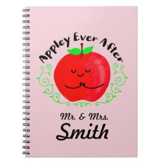Positive Apple Pun - Appley Ever After Spiral Notebook