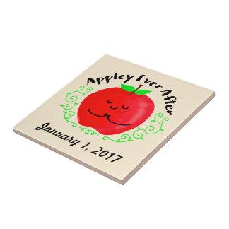 Positive Apple Pun - Appley Ever After Tile