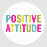 Positive Attitude in bright colours Round Stickers