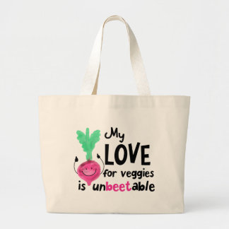 Positive Beet Pun - My Love for Veggies Large Tote Bag