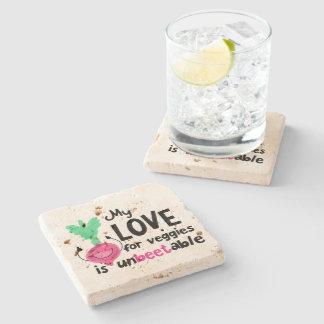 Positive Beet Pun - My Love for Veggies Stone Coaster