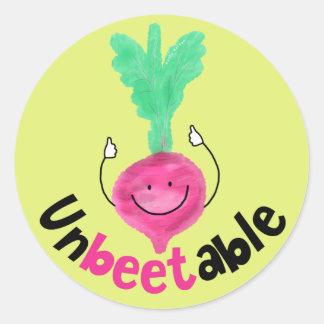 Positive Beet Pun - Unbeetable Classic Round Sticker
