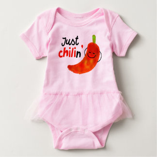 Positive Chili Pepper Pun - Just Chilin Baby Bodysuit