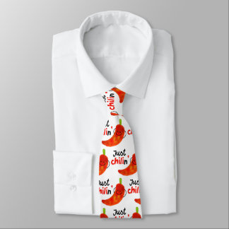 Positive Chili Pepper Pun - Just Chilin Tie