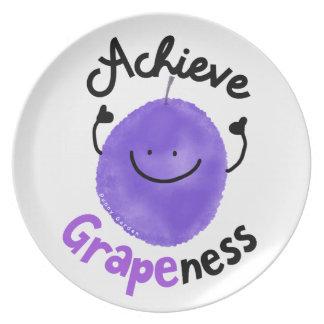 Positive Grape Pun - Achieve Grapeness Plate
