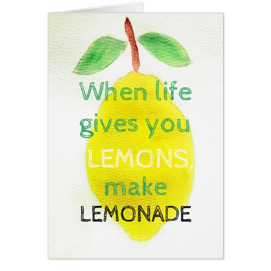 Positive Greeting Card with watercolor lemon