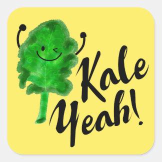 Positive Kale Pun - Kale Yeah! Square Sticker