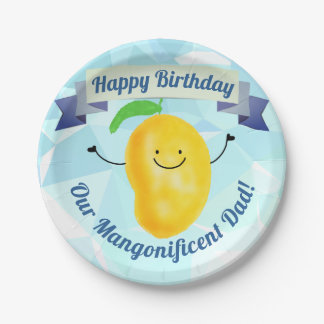 Positive Mango Pun - Birthday Mangonificent Dad Paper Plate