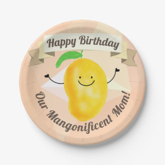 Positive Mango Pun - Birthday Mangonificent Mom Paper Plate