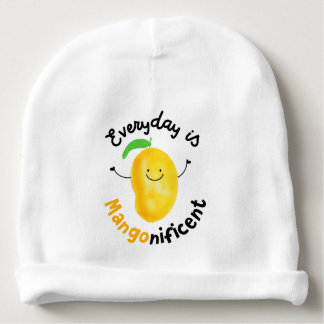 Positive Mango Pun - Everyday is Mangonificent Baby Beanie