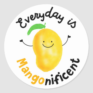 Positive Mango Pun - Everyday is Mangonificent Classic Round Sticker