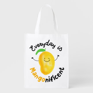 Positive Mango Pun - Everyday is Mangonificent Reusable Grocery Bag
