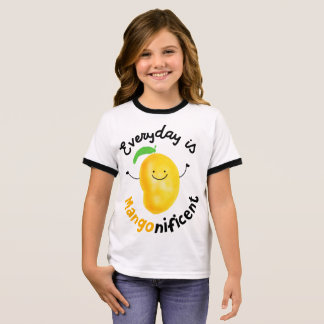Positive Mango Pun - Everyday is Mangonificent Ringer T-Shirt