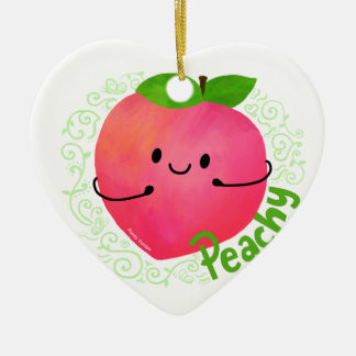 Positive Peach Pun - Peachy Ceramic Ornament