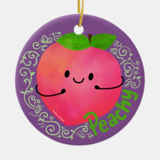 Positive Peach Pun - Peachy Ceramic Ornament