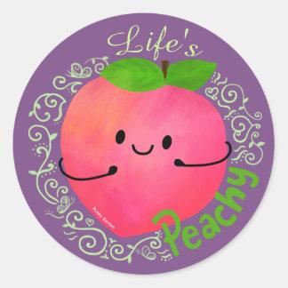 Positive Peach Pun - Peachy Classic Round Sticker