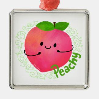 Positive Peach Pun - Peachy Metal Ornament