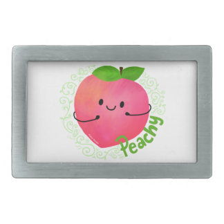 Positive Peach Pun - Peachy Rectangular Belt Buckle