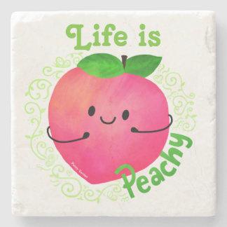Positive Peach Pun - Peachy Stone Coaster