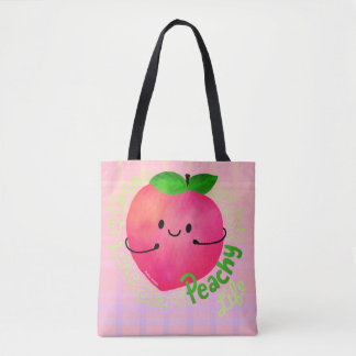 Positive Peach Pun - Peachy Tote Bag