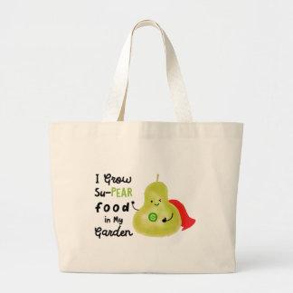 Positive Pear Pun - I Grow SuPear Food Large Tote Bag
