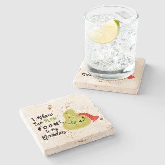 Positive Pear Pun - I Grow SuPear Food Stone Coaster