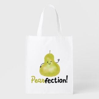 Positive Pear Pun - Pearfection Reusable Grocery Bag