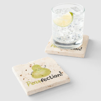Positive Pear Pun - Pearfection Stone Coaster