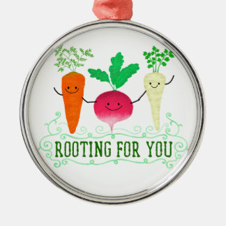 Positive Root Pun - Rooting for you Metal Ornament