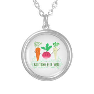 Positive Root Pun - Rooting for you Silver Plated Necklace