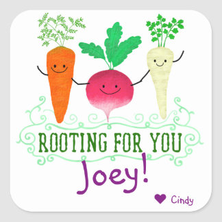 Positive Root Pun - Rooting for you Square Sticker