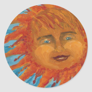 Positive, Smiling Orange Sun From Acrylic Painting Classic Round Sticker