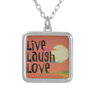 Positive Sunshine Live Laugh Love Quote Silver Plated Necklace
