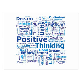 Positive Thinking Word Cloud - Blue Colors Postcard