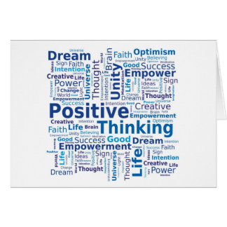 Positive Thinking Word Cloud in Blue Colors Card