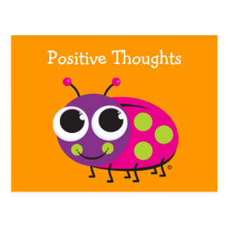 Positive Thoughts Cute Ladybug Card Postcard