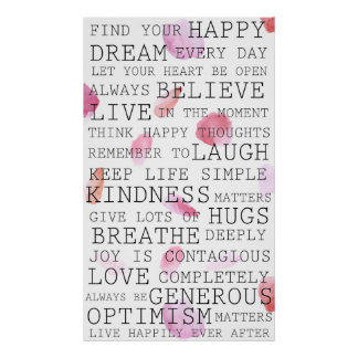 Positive Thoughts Inspirational Words Rose Petals Poster