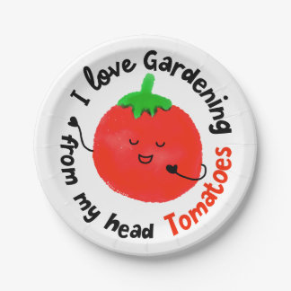 Positive Tomato Pun - From My Head Tomatoes Paper Plate