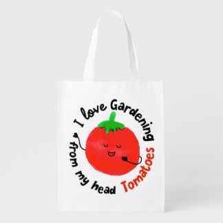 Positive Tomato Pun - From My Head Tomatoes Reusable Grocery Bag