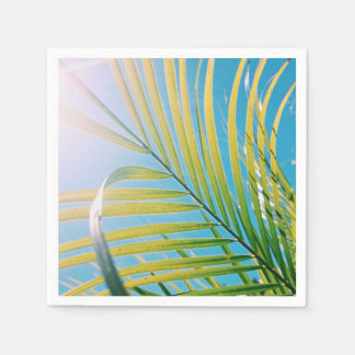 Positive Vibes Sunny Palm Tree Leaf Paper Napkin