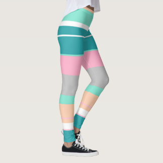 Positive Vibes Turquoise and Peach Leggings